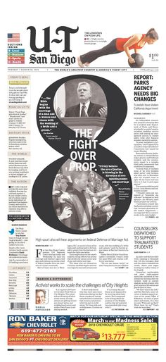 The 8-ball in California is Proposition 8, defining what marriage is in the state. Two pointy-heads make a point and counterpoint on a front page.