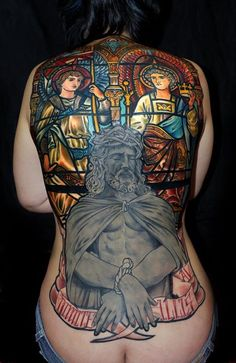 Crazy amazing backpiece tattoo -stained glass is insane! INK~ tattoos