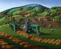 John Deere Tractor Baling Hay Country Farm
