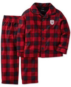 Carter's Little Boys' 2-Piece Plaid Button-Down Pajamas
