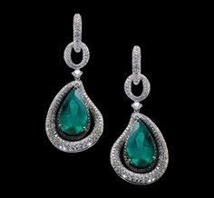 KESSARIS  Earrings in white gold with emeralds and diamonds