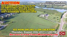 CLICK HERE TO LEARN MORE ABOUT THIS AUCTION: http://comasmontgomery.com/index.php?ap=1&pid=54442 AUCTION featuring NICE ASSISTED LIVING FACILITY AT TIM'S FORD LAKE w/ 4 ADJOINING ACREAGE LOTS! 1311 Lynchburg Rd, Winchester, TN. BID NOW ONLINE or ON LOCATION Thursday, August 10th, 2017 @ 1:00 PM. #land #acres #timsfordlake #lake #resort #nursinghome #assistedliving #facility #building #commercial #property #auction #winchester #tennessee #franklincounty #investment #development #lynchburg
