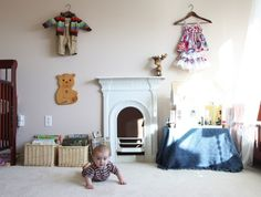 Two gendered shared nursery/toddler room. Clothes show who lives where.