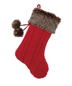 Red & Brown Faux Fur Pom-Pom Stocking