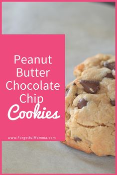 This Peanut Butter Chocolate Chip cookie is easy to make and delicious. Plus they disappear fast! Best Cookie Recipes, Healthy Dessert Recipes, Delicious Desserts, Snack Recipes, Bar Recipes, Sweet Recipes, Peanut Butter Cookies, Chocolate Peanut Butter, Chocolate Chip Cookies