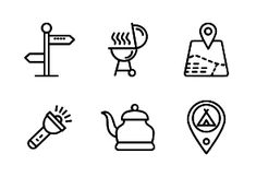 'Camping by ProSymbols Adventure Symbol, Nature Adventure, Camping Icons, Backpacking Tent, Summer Design, Outdoor Recreation, Line Icon, Business Management, Icon Set