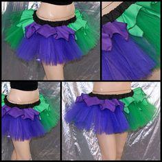 Purple Green Joker Ruffle Striped Tulle TuTu Skirt adult all Sizes MTCoffinz. $40.00, via Etsy.