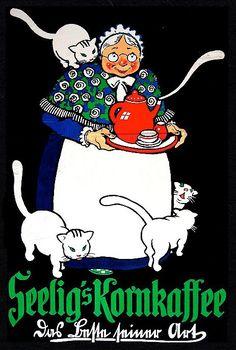 Cats in Art and Illustration: Seelig's kornkaffee