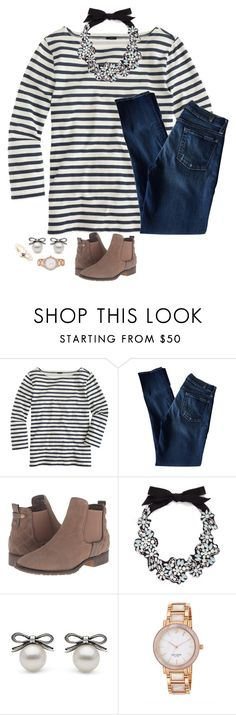 """""""Follow @thepreppybohogirl, and get her to 600!"""" by waldenwilly ❤ liked on Polyvore featuring J.Crew, 7 For All Mankind, Steve Madden, Kate Spade, Brooks Brothers, women's clothing, women's fashion, women, female and woman"""