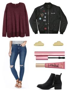 """""""Untitled #524"""" by valerialoman on Polyvore featuring H&M, Paige Denim, Too Faced Cosmetics and Minor Obsessions"""