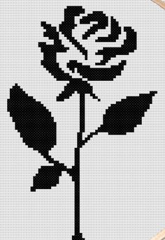 Cross stitch pattern of black rose silhouette- modern cross stitch pattern- roma. - Cross stitch pattern of black rose silhouette- modern cross stitch pattern- romantic cross stitch pattern- rose cross stitch pattern - Pony Bead Patterns, Modern Cross Stitch Patterns, Counted Cross Stitch Patterns, Cross Stitch Charts, Cross Stitch Designs, Cross Stitch Embroidery, Graph Paper Drawings, Graph Paper Art, Cross Stitch Rose