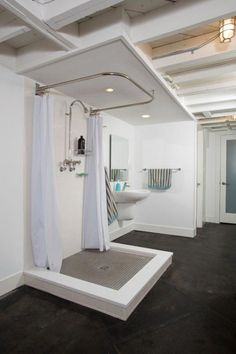 Basement Bathroom Ideas On A Budget Tags : small basement bathroom floor plans, basement bathroom remodel cost, basement bathroom layout, basement bat. Small Basement Bathroom, Add A Bathroom, Bathroom Floor Plans, Bathroom Layout, Bathroom Designs, Modern Basement, Bathroom Plumbing, Unfinished Basement Ceiling, Bathroom Laundry