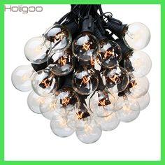 Holigoo 25Ft G40 Bulb Globe String Lights with Clear Bulb Backyard Patio Lights Vintage Bulbs Decorative Outdoor Garland Wedding