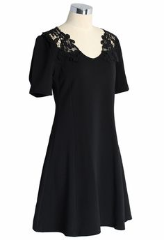 Delicate Lace Back Flare Dress in Black