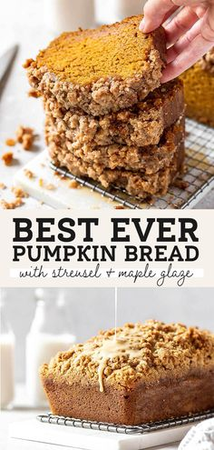 This is seriously the BEST pumpkin bread. Not only is it super moist, but it also has a pumpkin spice streusel topping and a sticky maple glaze. It's so easy to make and it will quickly become your favorite pumpkin bread recipe. #pumpkinbread #pumpkindessert #pumpkin #fall #pumpkinspice #butternutbakery Pumpkin Recipes, Fall Recipes, Sweet Recipes, Fall Dessert Recipes, Autumn Bread Recipes, Best Pumpkin Bread Recipe Ever, Easy Fall Desserts, Quick Bread Recipes, Just Desserts