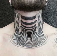 Take a look at this amazing Creepy Throat Optical Illusion Tattoo illusion. Browse and enjoy our huge collection of optical illusions and mind-bending images and videos. Tattoos 3d, Great Tattoos, Sexy Tattoos, Black Tattoos, Body Art Tattoos, Sleeve Tattoos, Hals Tattoo Mann, Tattoo Hals, Optical Illusion Tattoo