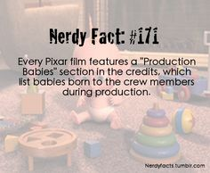 "Disney Fact: Every Pixar film features a ""Production Babies"" section in the credits, which list babies born to the crew members during production Disney Fun Facts, Disney Memes, Disney Quotes, Interesting Disney Facts, Disney Dream, Disney Love, Disney Magic, Disney And Dreamworks, Disney Pixar"