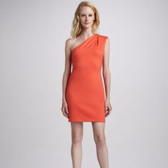 Beautiful Bright Coral One Shoulder Fitted Dress