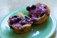 """The Pioneer Woman's """"Awesome-est Blueberry Muffins""""...  really good... we baked these using Brown Cow Organic Cream Top Maple Yogurt ('cause I had that or strawberry yogurt)  and they WERE awesome. Don't skip the blueberry yogurt sauce... so yummy!"""