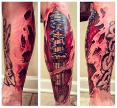 Realistic mechanical leg tattoo on leg.. Click the pic for more #tattoos