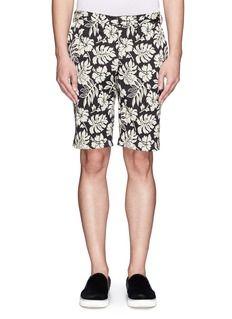 BEAMS PLUSHawaiian floral jacquard cotton-blend shorts
