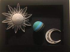 The Earth Moon and Sun System 3D Quilling Wall Art
