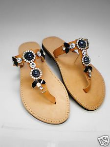 Handmade Genuine Leather Sandals UK size 6.5 black and strass stones