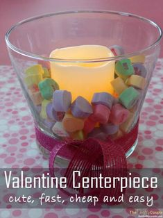 This is a cute, fun, super easy and cheap Valentine's Day Centerpiece using conversation sweet heart candies and votive candles.  It's too easy, but even cuter!