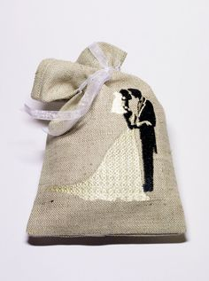 Wedding favor sachet burlap linen gift bag with by DriadaD on Etsy, $12.00