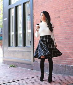Cute Fall Outfits, Classy Outfits, Plaid Outfits, Skirt Outfits For Winter, Circle Skirt Outfits, Feminine Fall Outfits, Fall Office Outfits, Church Outfit Winter, Skirt Outfits Modest