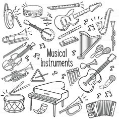 Set of musical instrument outlined doodle sketch in black color over. Music Doodle, Doodle Art, Musical Instruments Drawing, Guitar Tattoo Design, Drawing Quotes, Simple Doodles, Music Activities, Music Wallpaper, Doodle Sketch