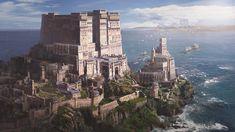 Castle on the sea, Y Seul. Jeon ArtStation - Castle on the sea, Y Seul. Fantasy City, Fantasy Castle, Fantasy Kunst, Fantasy Places, High Fantasy, Medieval Fantasy, Fantasy World, Fantasy Art Landscapes, Fantasy Landscape