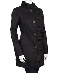 RAINCOAT WITH RUFFLE FRONT BLACK ready to wear outerwear coats no sub class