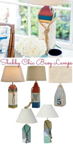 Shabby Chic Buoy Lamps: http://www.completely-coastal.com/2016/04/nautical-buoy-lamps.html These buoy table lamps are made from solid wood with a shabby chic distressed finish.