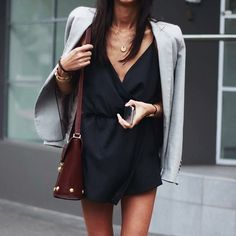 lookforless: Black Playsuit