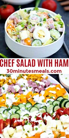 Chef Salad is a modern take on the old-school classic. #chefsalad #saladrecipes #salads #easymeals #30minutesmeals Easy Appetizer Recipes, Delicious Dinner Recipes, Easy Salads, Healthy Salad Recipes, Easy Family Meals, Quick Easy Meals, Chef Salad, Soup And Salad, Pork Recipes