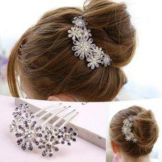 2015 Yeni Kadın Güzel Kristal Rhinestone Taç Tuck Saç Tarak Çiçek Süslemeleri Pin Saç Klip, Saç Aksesuarları Moda Takı