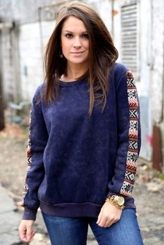 Acid Wash Tribal Sweater {Navy}