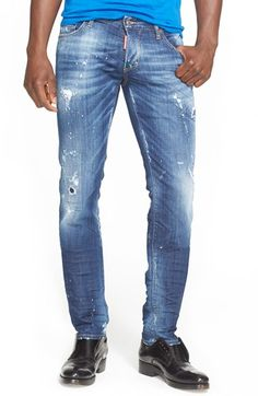 Dsquared2 Distressed Slim Fit Jeans (Blue) available at #Nordstrom