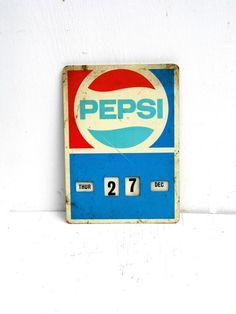 Vintage Metal Pepsi Sign Metal Pepsi Calendar by PaperWoodVintage, $85.00