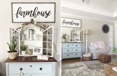 Distressed White Window Cabinet Old Cabinets, White Cabinets, Wooden Console Table, French Country Furniture, Cabinet Decor, Window Wall, How To Distress Wood, Wall Shelves, Architecture Design