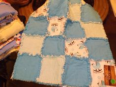 Baby Blue Carriage Quilt by FamilyTie on Etsy, $45.00