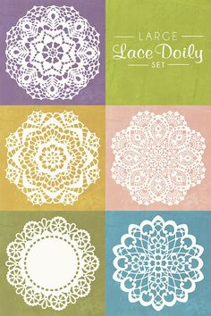 Fantastic Set of 5 Lace Doily Wall Stencils!!! Love the large bold pieces and comes as a 2 layer stencil - silhouette & detail layer. All come in smaller stencils too! Oh yeah, gotta have it! Stencil by royaldesignstencils