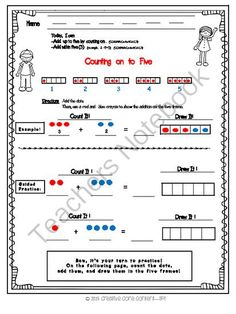 Counting on to Five (5) from Creative Core Content on TeachersNotebook.com -  (1 page)  - A free download to help your students with combinations of five and counting on up to five