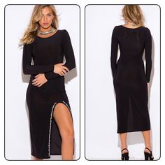 Black long sleeve evening maxi dress Slip On This Slinky And Sultry Long Sleeve Ankle Maxi And You Are Ready To Be Under The Spotlight At Any Evening Event! Featuring Our Favorite High Slit Trend With A New Twist - The Side Slit Is Embellished With Sparkling Jewels That Adds Glam And A Designer Touch, Making This Sexy Dress Truly One Of The Kind. Fitted And Stretchy, Unlined. 96% Polyester, 4% Spandex. Dresses Maxi
