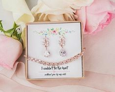 Bridesmaid Jewelry Set Bridesmaid Proposal Gift Wedding | Etsy Rose Gold Wedding Jewelry, Crystal Wedding, Bridesmaid Bracelet, Bridesmaid Jewelry Sets, Gift Wedding, Handmade Wedding, Bridesmaid Proposal Gifts, Bridal Earrings, Bridesmaids