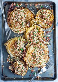 Roast cabbage topped with a crunchy gremolata of bacon, almonds, and parsley. SO GOOD! Serve as first course or alongside chicken or pot roast. Gluten-free. from @simplyrecipes