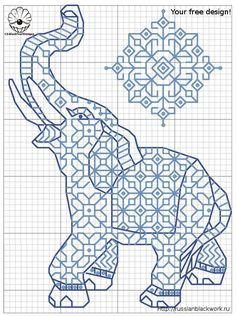 Moroccan elephant cross stitch graph
