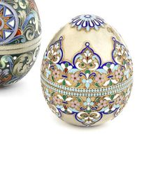 A silver-gilt and cloisonné enamel Easter eggmaker's mark HK, Moscow, 1899-1908