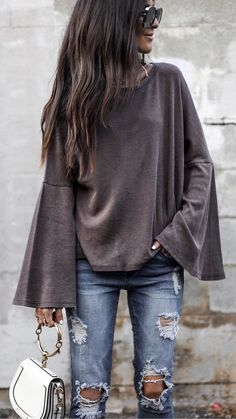 #fall #outfits women's grey knitted loose sweater